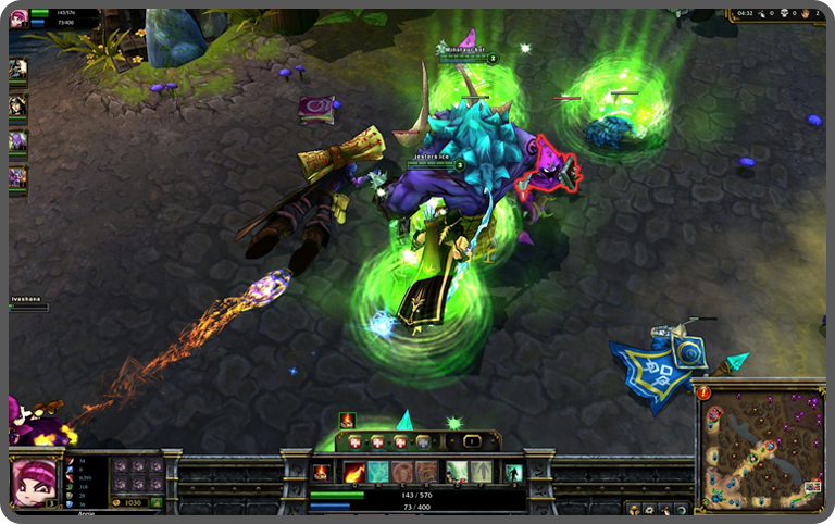 A League of Legends gaming session in progress
