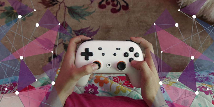 Close up of new Google Stadia controller in use
