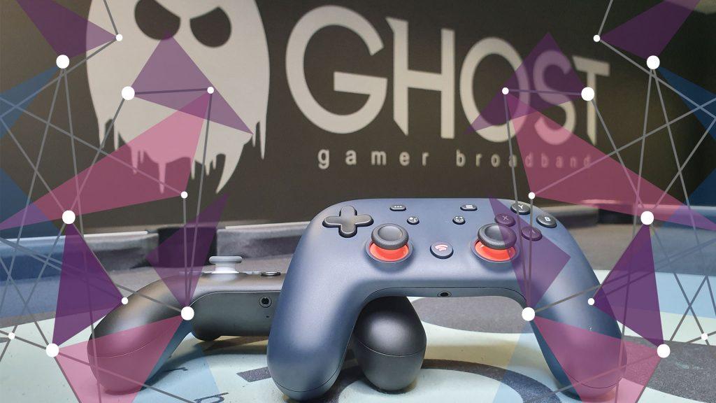 Google Stadia controller in midnight blue in Ghost Gamer Broadband offices