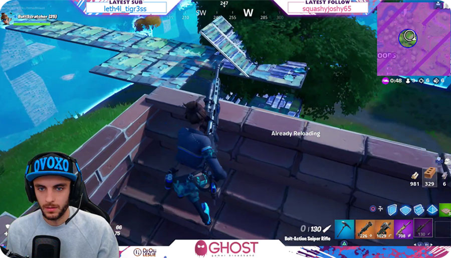 DJ Oli live-streaming Fortnite game via Twitch