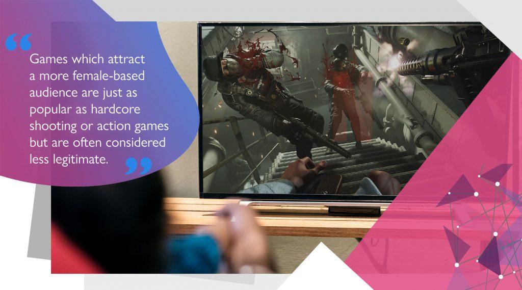Violent, shooting video game on TV