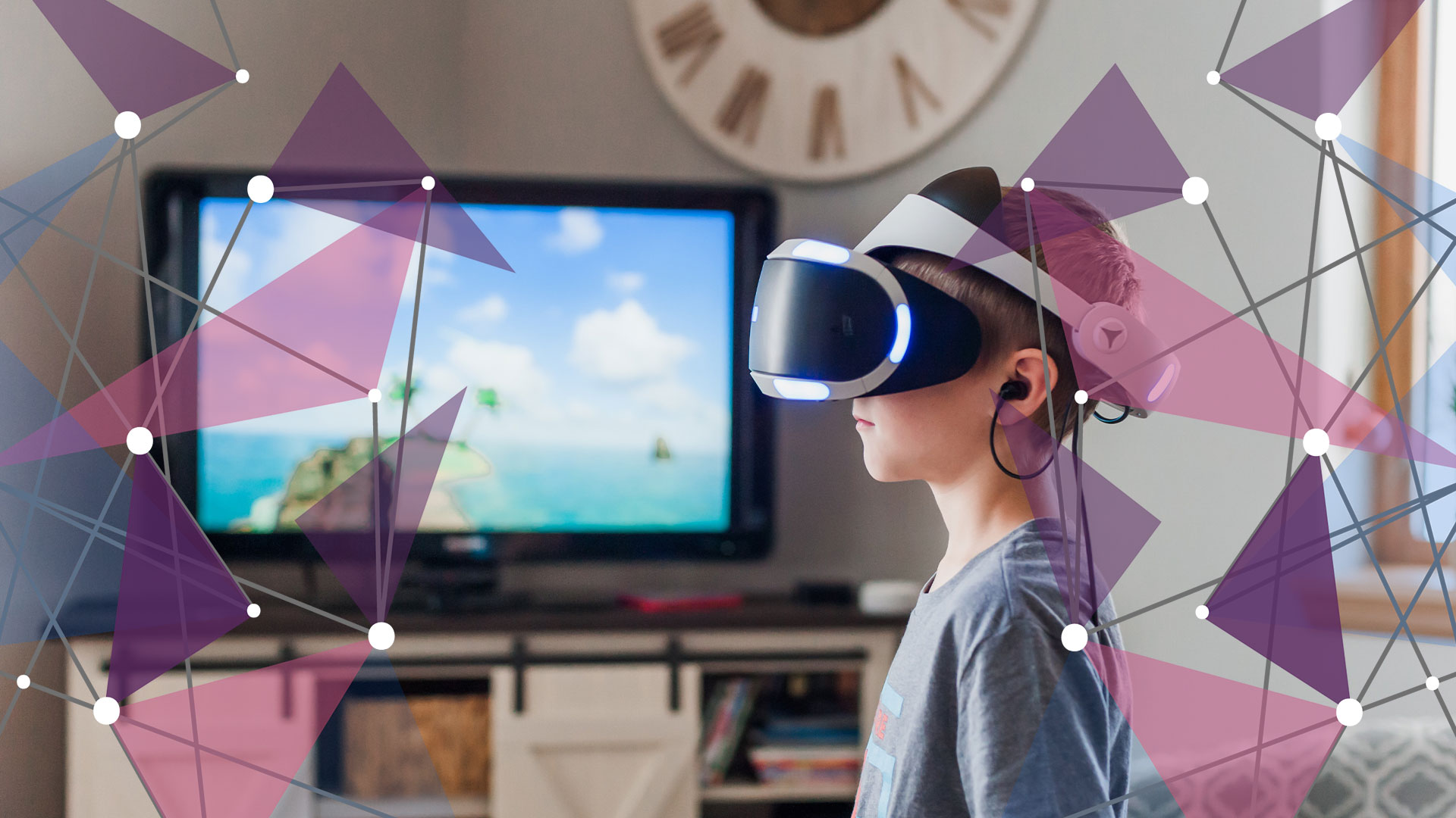 Child wearing VR headset for online gaming