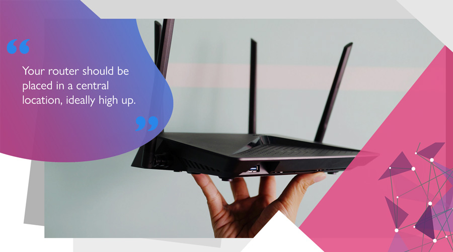 Router with external antennae placed in a high position to increase Wi-Fi range and signal quality