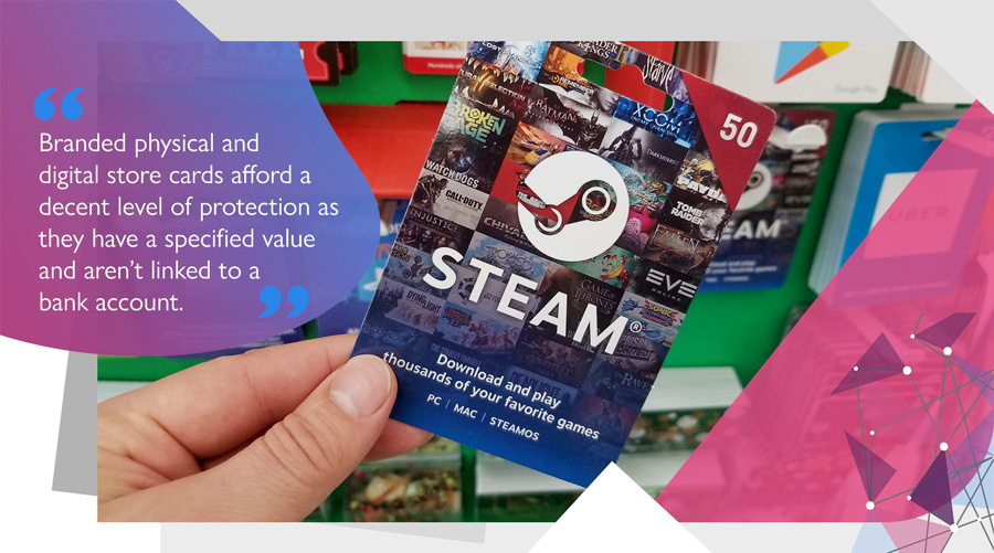 Steam gift voucher used to buy online games