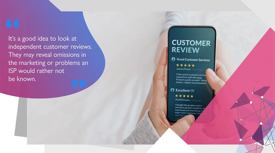 Gamer reading broadband provider reviews on smartphone